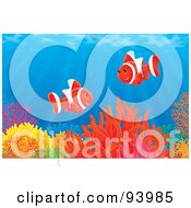 Royalty-Free (RF) Clipart Illustration of Two Red Clownfish Over A Coral Reef In The Sea by Alex Bannykh