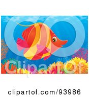 Royalty Free RF Clipart Illustration Of A Marine Fish Over A Coral Reef In The Sea