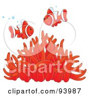Royalty Free RF Clipart Illustration Of Two Happy Red And White Clownfish With Bubbles Over A Red Sea Anemone by Alex Bannykh