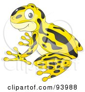 Royalty Free RF Clipart Illustration Of A Cute Yellow Poison Dart Frog With Black Markings by Alex Bannykh