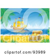 Royalty Free RF Clipart Illustration Of A Pirate Ship Off The Coast With A Treasure Chest In The Foreground by Alex Bannykh