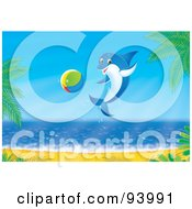 Royalty Free RF Clipart Illustration Of A Playful Blue Dolphin Jumping With A Ball By A Beach by Alex Bannykh