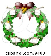 Clipart Illustration Of Angels On A Christmas Wreath Playing Horns by Dennis Cox