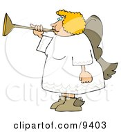 Female Blond Angel Playing A Horn Clipart Illustration by Dennis Cox