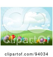 Royalty Free RF Clipart Illustration Of The Sun Shining In The Sky Over Green Hills And Easter Eggs In Grass by KJ Pargeter