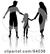 Royalty Free RF Clipart Illustration Of A Black Silhouetted Dad Mom And Daughter Walking And Holding Hands by KJ Pargeter