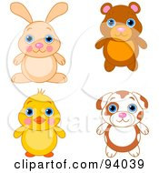 Royalty Free RF Clipart Illustration Of A Digital Collage Of A Cute Bunny Bear Chick And Puppy Dog