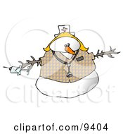 Medical Nurse Snow Woman Wearing A Stethoscope