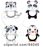 Royalty Free RF Clipart Illustration Of A Digital Collage Of A Cute White Tiger Panda Dalmatian Puppy And Penguin