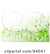 Royalty Free RF Clipart Illustration Of A Background Of Green Music Notes And Vines by Pushkin #COLLC94041-0093