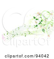 Royalty Free RF Clipart Illustration Of A Background Of Green Music Notes Pink Flowers And Vines
