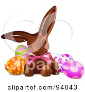 Royalty Free RF Clipart Illustration Of A Chocolate Bunny With Easter Egg Candy