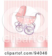 Royalty Free RF Clipart Illustration Of A Pink Baby Girl Stroller Over A Pink Striped Background With A Shiny Ribbon by Pushkin