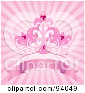 Royalty Free RF Clipart Illustration Of A Pink Princess Crown Above A Blank Banner On A Pink Shining Background by Pushkin #COLLC94049-0093