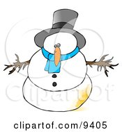 Snowman With A Patch Of Pee On Him Clipart Illustration by djart