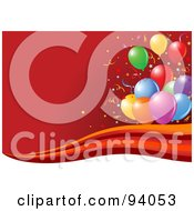 Royalty Free RF Clipart Illustration Of Colorful Balloons And Confetti Over A Red Background With A Wave