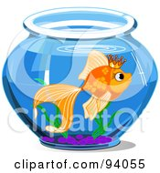 Royalty Free RF Clipart Illustration Of A Goldfish Wearing A Crown And Swimming In A Bowl by Pushkin
