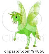 Magical Green Winged Unicorn
