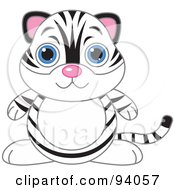 Royalty Free RF Clipart Illustration Of A Cute White Tiger With Big Blue Eyes by Pushkin