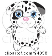 Royalty Free RF Clipart Illustration Of A Cute Dalmatian Puppy With Big Blue Eyes by Pushkin