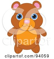 Royalty Free RF Clipart Illustration Of A Cute Brown Bear With Big Blue Eyes