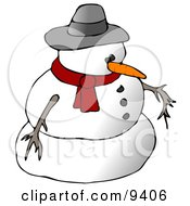 Snowman Wearing A Scarf And Hat