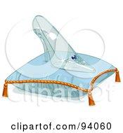 Royalty Free RF Clipart Illustration Of A Glass Slipper On A Blue Pillow by Pushkin #COLLC94060-0093