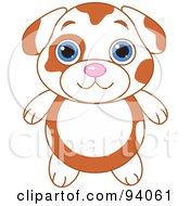 Royalty Free RF Clipart Illustration Of A Cute Spotted Puppy Dog With Big Blue Eyes