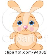 Royalty Free RF Clipart Illustration Of A Cute Beige Bunny Rabbit With Big Blue Eyes