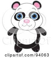 Royalty Free RF Clipart Illustration Of A Cute Panda Bear With Big Blue Eyes