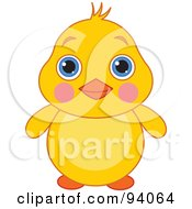Royalty Free RF Clipart Illustration Of A Cute Blushing Yellow Chick With Big Blue Eyes by Pushkin