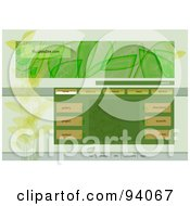 Royalty Free RF Clipart Illustration Of An Ecology Website Design Template With Navigation Buttons And Leaves