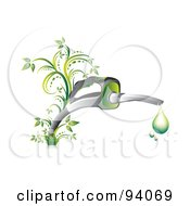 Royalty Free RF Clipart Illustration Of Droplets Of Green Gasoline Dripping From A Fuel Nozzle With Vines
