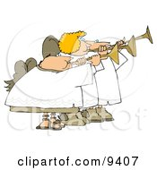 Two Male And One Female Angels Playing Horns Clipart Illustration by Dennis Cox
