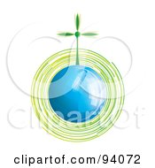 Royalty Free RF Clipart Illustration Of A Spinning Green Wind Turbine On A Shiny Blue Globe