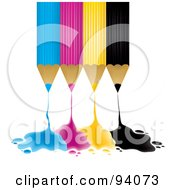 Royalty Free RF Clipart Illustration Of Upside Down Blue Pink Yellow And Black Pencils Dripping Ink