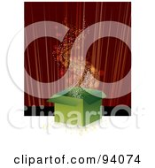 Royalty Free RF Clipart Illustration Of Stars Floating Out Of A Magic Green Gift Box On A Stage by MilsiArt