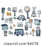 Royalty Free RF Clipart Illustration Of A Digital Collage Of A Group Of Urban Icons And Items