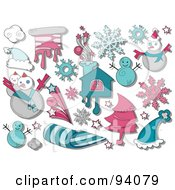 Royalty Free RF Clipart Illustration Of A Digital Collage Of A Group Of Winter Icons And Items by BNP Design Studio