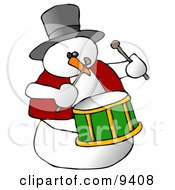 Snowman Drummer Playing The Drums Clipart Illustration