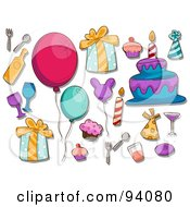 Royalty Free RF Clipart Illustration Of A Digital Collage Of A Group Of Birthday Icons And Items