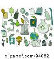 Royalty Free RF Clipart Illustration Of A Digital Collage Of A Group Of Recycle Icons And Items by BNP Design Studio