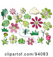 Royalty Free RF Clipart Illustration Of A Digital Collage Of A Group Of Spring Icons And Items by BNP Design Studio