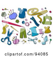 Royalty Free RF Clipart Illustration Of A Digital Collage Of A Group Of Sewing Icons And Items