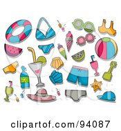 Royalty Free RF Clipart Illustration Of A Digital Collage Of A Group Of Summer Icons And Items by BNP Design Studio