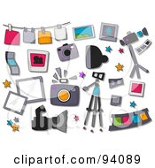 Royalty Free RF Clipart Illustration Of A Digital Collage Of A Group Of Photography Icons And Items