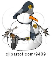 Snowman Police Officer Clipart Illustration by Dennis Cox