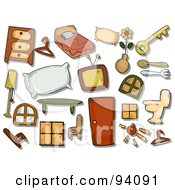 Royalty Free RF Clipart Illustration Of A Digital Collage Of A Group Of Household Icons And Items