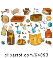 Royalty Free RF Clipart Illustration Of A Digital Collage Of A Group Of Feline Icons And Items
