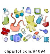 Royalty Free RF Clipart Illustration Of A Digital Collage Of A Group Of Baby Icons And Items by BNP Design Studio